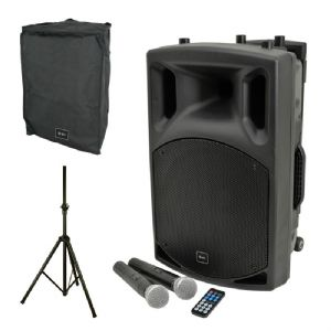 QTX QX15PA Battery + Mains 200W Bluetooth Speaker + 2 Radio Mics + Cover + Stand